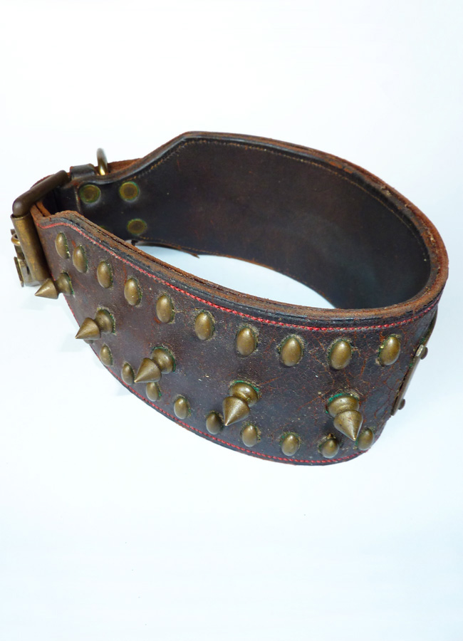 rare antique victorian brass and leather dog collars